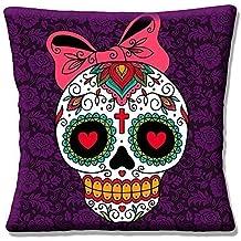 """Retro Mexican Sugar Skull Day Of The Dead-Rosa y Morado lazo-16""""(40cm) almohada cojín"""