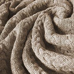 Lorenzo Cana - Coperta in lana 100% Alpaca, copriletto/copridivano/plaidin baby alpaca, caldo e confortevole, colore Ecru/Beige