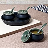 Unravel India Ceramic Hand Crafted Chutney Bowl Set With Base Tray (Set Of 3)