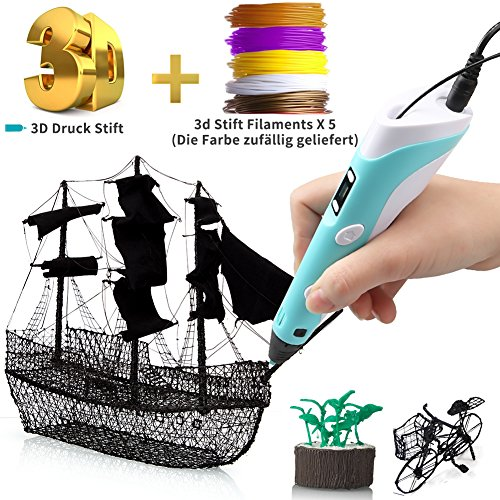 3D Stift 3D Druck Stift für Kinder DIY Scribble Zeichnung Drucker Stift mit 5 PLA Filamente Minen,LCD Anzeige&Intelligente Temperaturregelung für Kinder, Erwachsene&Künstler (Unsere Welt Kinder Anzeigen)