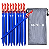 Kungix Camping Tent Pegs Stakes 18cm Aluminium Alloy with Reflective Rope 10-Piece (Blue)