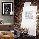 Applique Wandleuchte Wand Moderne Design Elegante Glas satiniert sfalzato gekreuzt Stahl Blattsilber Wohnzimmer Flur Treppenhaus Bad Tetri AP FA Sophie Lighting
