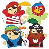 Baker Ross Kits de Costura de Marionetas Pirata de Mano (Paquete de 4) para Crear y Jugar con niños