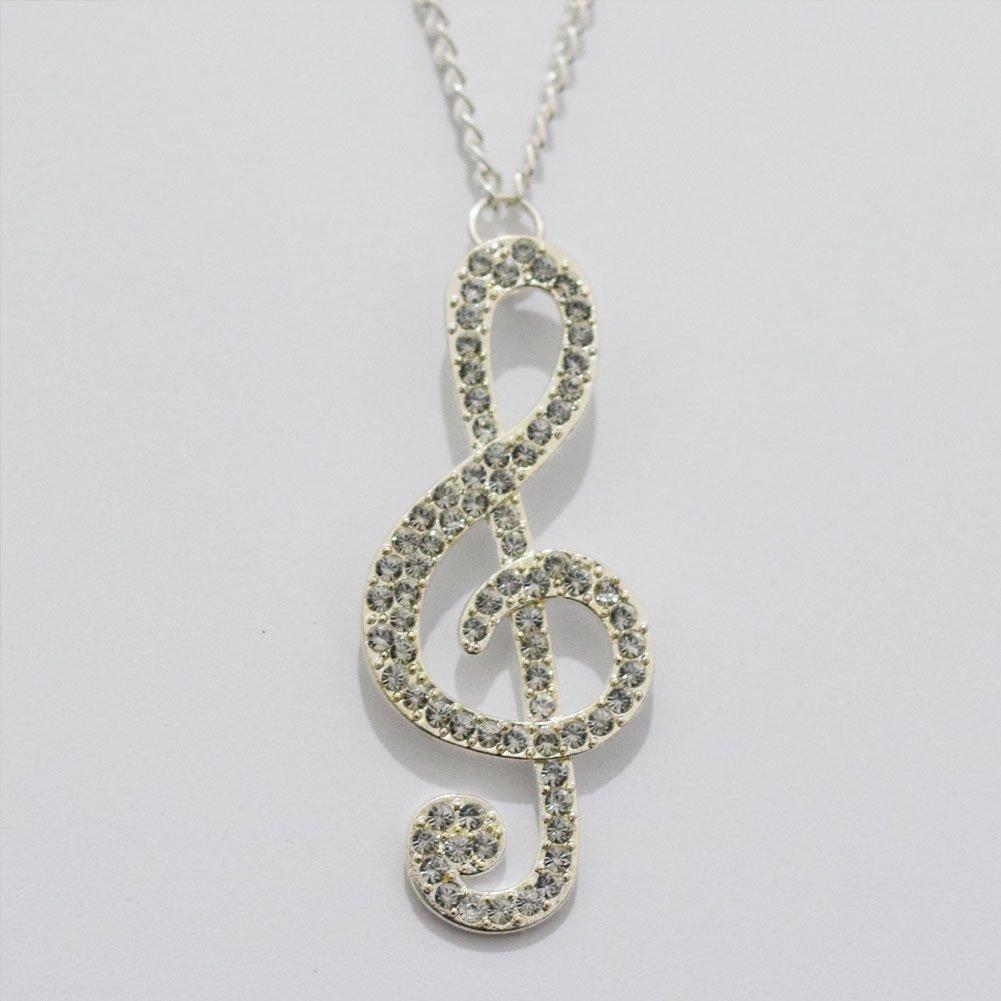 Collana con nota musicale, chiave di violino, Musica Ciondolo, Musicale, Argento Amante Della Music
