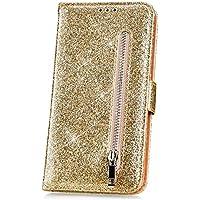 JAWSEU Funda Compatible con LG K8 2018 Carcasa Brillante Glitter Billetera Libro PU Cuero y Suave Silicona Funda Soporte Plegable Ranuras para Tarjetas Cierre Magnético Case Cover,Oro