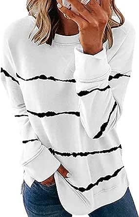 BUOYDM Maglietta da Donna Estiva a Maniche Corte con Righe Casuale Camicetta Elegante Donna T-Shirt Basic Camicia Top