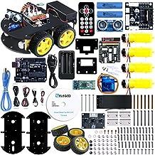 Elegoo UNO Proyecto Kit de Coche Robot Inteligente V3.0 con UNO R3, Módulo de Seguimiento de Línea, Sensor Ultrasónico, Módulo Bluetooth Kit Robótico Coche Educativo de Juguete, STEM Juguete para niño