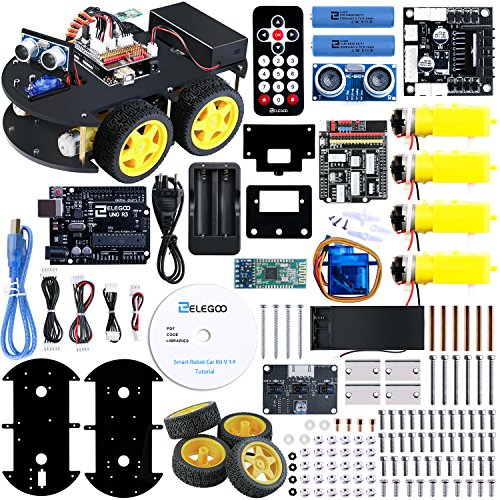 Elegoo Smart Robot Car Kit V3.0 UNO Elektro Baukasten mit UNO R3, Line Tracking Modul, Ultraschallsensor, Bluetooth Modul usw. Auto Roboter Spielzeug für Erwachsene und Kinder
