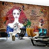 BBINGW Papel Pintado Papel Pintado Pintado A Mano Europeo Del Fondo Del Restaurante Del Tema Del Pintado A Mano De La Belleza Del Tinte Tridimensional Del Ladrillo 3D, 400 * 309Cm