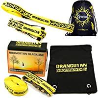 Orangutan SLACKLINE 15m Set - Great Value Including Ratchet + Straps + Bag! Perfect Balance Slack Line For All Ages And Skill (Neon Yellow)