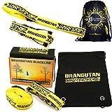 Orang-Utan SLACKLINE 15m einstellen - Tolles Preis-Leistungs-Verhältnis inklusive Ratsche + Riemen + Tasche! Perfekte Balance Slack Line für alle Altersgruppen und Fähigkeiten (Neon Gelb)