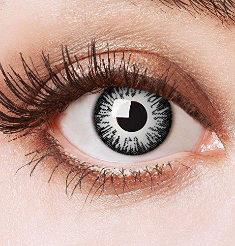 Karneval Klamotten Farblinsen Farbige Kontaktlinsen Jahreslinsen ohne Stärke Halloween grau