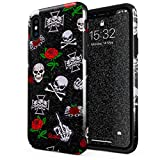Glitbit Coque pour iPhone XS Max Case Embroidered Red Rose Skulls Floral Patches...
