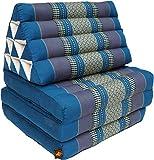 Guru-Shop Thaikissen, Dreieckskissen, Kapok, Tagesbett mit 3 Auflagen - Türkis, 30x50x160 cm, Asiatisches Sitzkissen, Liegematte, Thaimatte