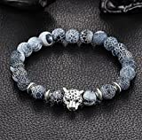 Burenqi@ Wholesale Leopard Head Lava Stone Bead Buddha Bracelet Stone Charm Tiger Eye Women Man Bracelets & Bangle,B 2pcs/Set