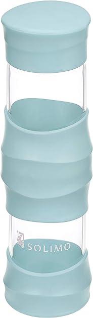 Amazon Brand - Solimo Borosilicate Glass Sports Bottle, 470 ml, Blue