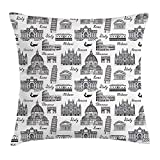 tgyew City Throw Pillow Cushion Cover, Monochrome Sketch Style Famous Places from Italy Rome Milano European Architecture, Decorative Square Accent Pillow Case, 18 X 18 inches, Black White