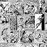 Marvel Papier peint Motif bande dessinée Noir/blanc Hulk Captain America Spiderman Muriva