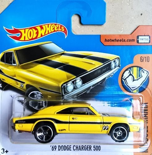 HOT WHEELS® Dodge Charger 500 - Oldtimer 1969 - 1:64 - gelb/schwarz (Edition HW Muscle Mania 2017)