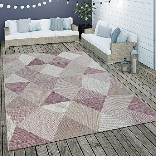 Paco Home In- & Outdoor Flachgewebe Teppich Geometrisches Muster Rauten Design In Lila, Grösse:200x290 cm - Home Trends Geometrischen Teppich