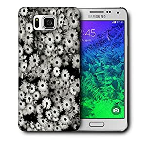 Snoogg Black And White Flowers Printed Protective Phone Back Case Cover For Samsung Galaxy SAMSUNG GALAXY ALPHA