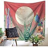Vielseitig Kaktus Blume und Sonne Tapisserie Wandbehang Aquarell Wandteppiche Wandkunst für Schlafzimmer Wohnzimmer College Wohnheim Dekor