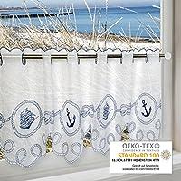Cortina para la parte inferior de la ventana; diseño marinero; perfecta para la cocina, el baño y la habitación de los niños; 45 x 115 cm, moderna y transparente