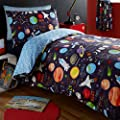 Kidz Club Planets Single Bed Duvet cover and Pillowcase Bed Set Bedding for Boy's Sun Mars and Moon, Black - inexpensive UK light store.