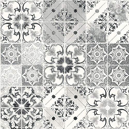 Debona Abwaschbare Tapete Valencia - Schwarz & Silber, Full Roll - Metallic Faux Wallpaper