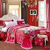 Wddwarmhome Polyester Matériau Couverture de motif de fleurs roses Rouge Déjeuner Pause Couverture de nappe 200 * 230cm Couvertures