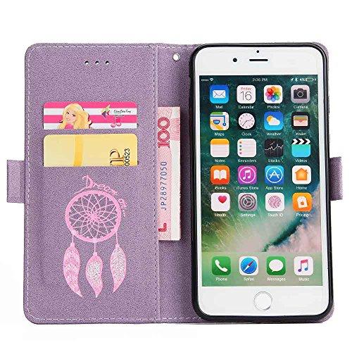 iPhone 7 PLUS Hülle,iPhone 7 PLUS Handyhülle iPhone 7 PLUS Wallet Case Cover Tasche [Campanula Glitzer bling] Brieftasche Flip Hülle im Bookstyle Cover Schale Etui Karten Slot Schutzhülle Für iPhone 7 Lila