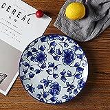 YUWANW Klassisches Blau und Weiß Keramik Auflaufform Fruit Dessert Auflaufform Underglaze Disc Auflaufform Auflaufform Chinese Art Deco Teller, Weiß Rose
