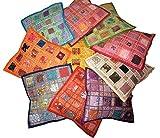 Pushpacrafts Lot de 10 housses de coussin carré Style indien vintage avec broderie et patchwork, 41x 41cm