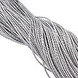 Perlin - 10 Meter Lederband 3mm Silber Geflochten PU Leder Band Lederschnur Schmuckschnur Band Lederbänder C230 x2
