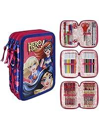 DC Super Hero Girls 2700–196estuche triple, Premium, 3compartimentos, rotuladores, lápices, accesorios Escuela 43piezas, poliéster, multicolor, Wonder Woman, Supergirl, Batgirl