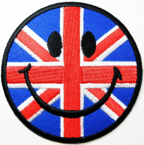 Mit Smiley-Flicken (Union-Jack-Flagge), Embroidered Iron on Patch Patches