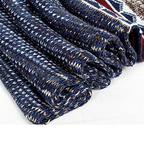 Leisial Écharpe Foulard de Coton Tricoté pour Homme Hiver 200cm x 33cm Bleu marin