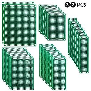 ELEGOO 32pcs Basetta Millefori Scheda Prototipo Forata Doppia Lato Faccia PCB Circuito Stampato Prototype[ 2X8 3X7 4X6…