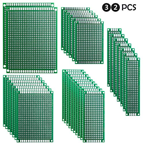 ELEGOO 32pcs Basetta Millefori Scheda Prototipo Forata Doppia Lato Faccia PCB Circuito Stampato Prototype[ 2X8 3X7 4X6 5X7 7X9CM ]