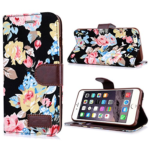 Apple iPhone 6 Handyhülle inklusive Displayfolie Lila Blumen aufwendige Blumen schwarz