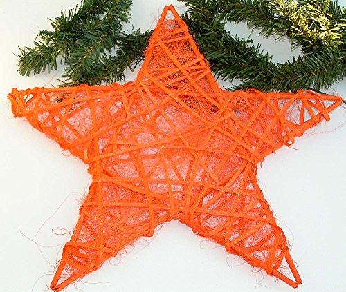 Trendy Weihnachtsstern orange 25 cm (Rebenstern mit Sisal) Weihnachten Blickfangdeko Fensterhänger zum verarbeiten tolle Weihnachtsdeko 5144