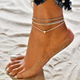 Jovono Boemia semplice bracciali argento cavigliere Ciondolo cuore multistrato argento cavigliera catena piede catena per don