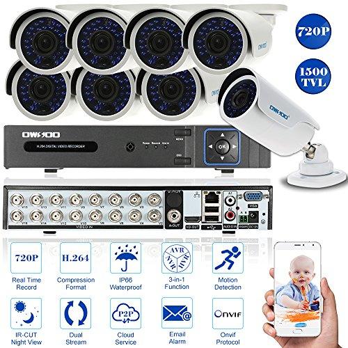 Digital Recorder Security Video (OWSOO CCTV Überwachung DVR 720p Security System Netzwerk Digital Video Recorder + 8 * 720P Outdoor/Indoor Infrarot-Bullet-Kamera + 8 * 60ft Kabel)