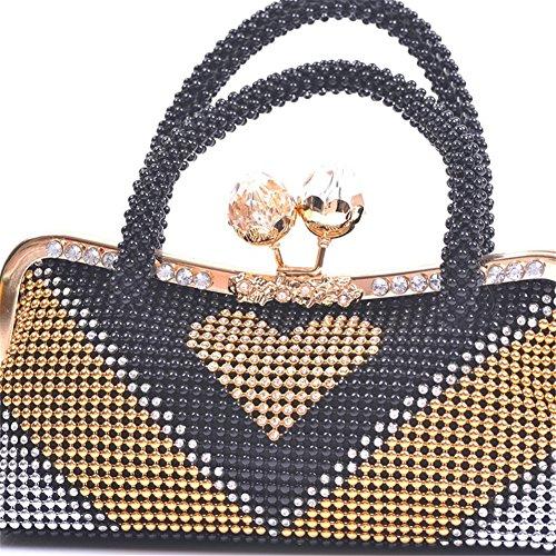 ERGEOB® Donna Clutch sacchetto di sera borsetta Clutch per Party Festa matrimonio teatro cinema catena taschino nero
