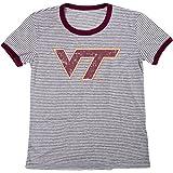 Blue 84 NCAA Virginia Tech Hokies Women's Tri-Blend Retro Stripe Ringer Shirt, Medium, Maroon
