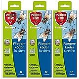 Protect Home Blattanex Fliegenköder-Streifen Gardopia Sparpakete + Zeckenzange mit Lupe (3 x 12 Stück)