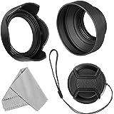 55 mm linsskydd set för Nikon D3400 D3500 D5500 D5600 D7500 DSLR kamera med AF-P DX 18-55 mm f/3,5-5,6G VR-objektiv, hopfällb