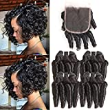 MORICHY Hair Funmi Human Hair 4 Bundles with Closure Funmi Curly Hair Spiral Bouncy Curls Remy Brazilian Hair with Closure Loose Curly Weaves 50g/pc Natural Color