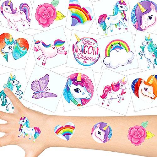 German Trendseller - 36 x Tatuajes temporales Unicornio ┃Fiesta Unicornio┃los Colores del Arco Iris┃ Fiestas Infantiles┃ Idea de Regalo┃piñata┃cumpleaños de niños┃ 36 Unidades…