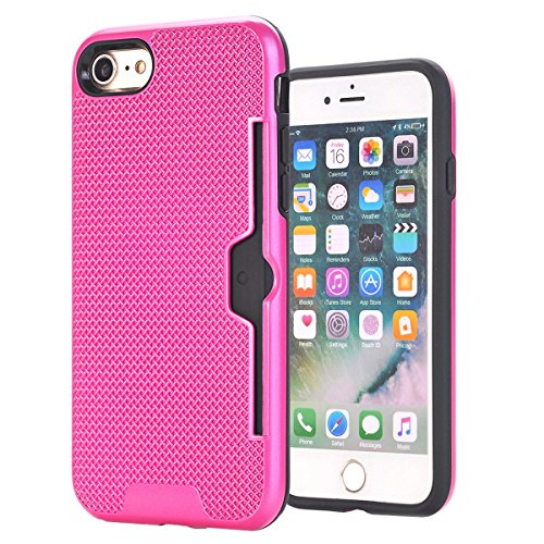 "MOONCASE iPhone 7 Coque, Dual Layer Hybrid Anti-rayures Protection Housse Card Slots Durable Armure Defender Étuis Case pour iPhone 7 4.7"" D'or Hotpink"